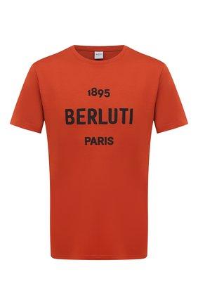 Мужская хлопковая футболка BERLUTI оранжевого цвета, арт. R18JRS50-007 | Фото 1