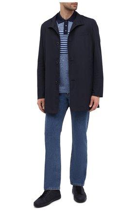 Мужское хлопковое поло BERLUTI синего цвета, арт. R19JPS44-002   Фото 2