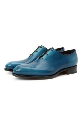 Мужские кожаные оксфорды SANTONI темно-синего цвета, арт. MCCR16229MC1HNGWU62 | Фото 1 (Стили: Классический; Материал внутренний: Натуральная кожа)