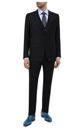 Мужские кожаные оксфорды SANTONI темно-синего цвета, арт. MCCR16229MC1HNGWU62 | Фото 2 (Стили: Классический; Материал внутренний: Натуральная кожа)