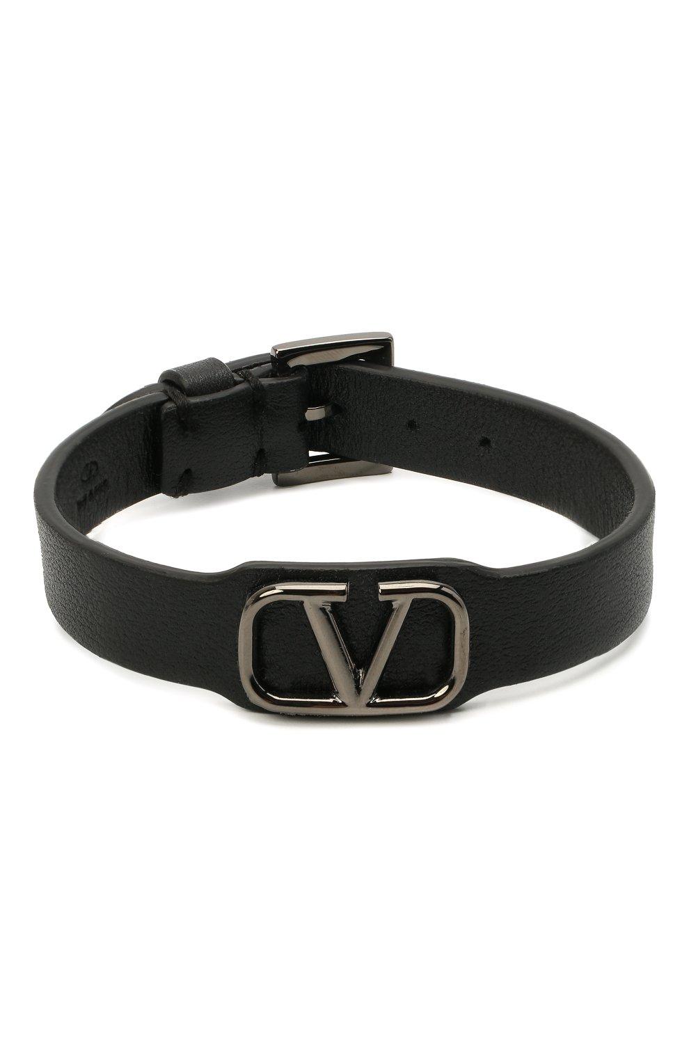 Мужской кожаный браслет valentino garavani VALENTINO черного цвета, арт. VY2J0N49/UQC   Фото 1