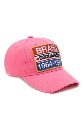 Мужской хлопковая бейсболка DSQUARED2 розового цвета, арт. BCM0307 05C00001/CG | Фото 1