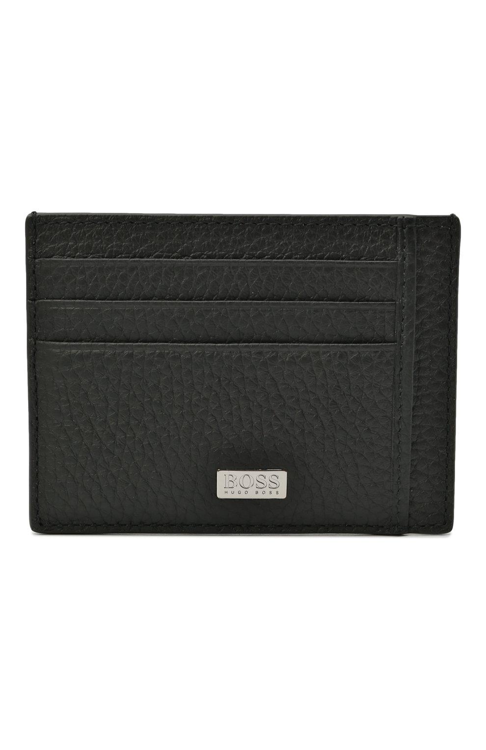 Мужской кожаный футляр для кредитных карт BOSS черного цвета, арт. 50441034 | Фото 1