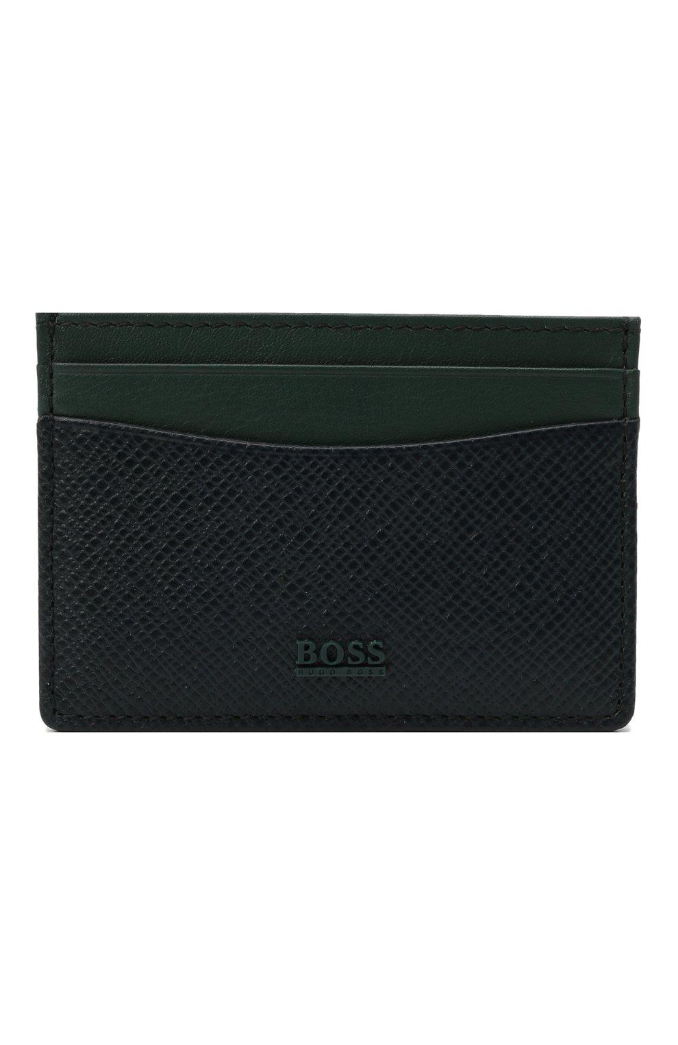Мужской кожаный футляр для кредитных карт BOSS темно-синего цвета, арт. 50447004 | Фото 1