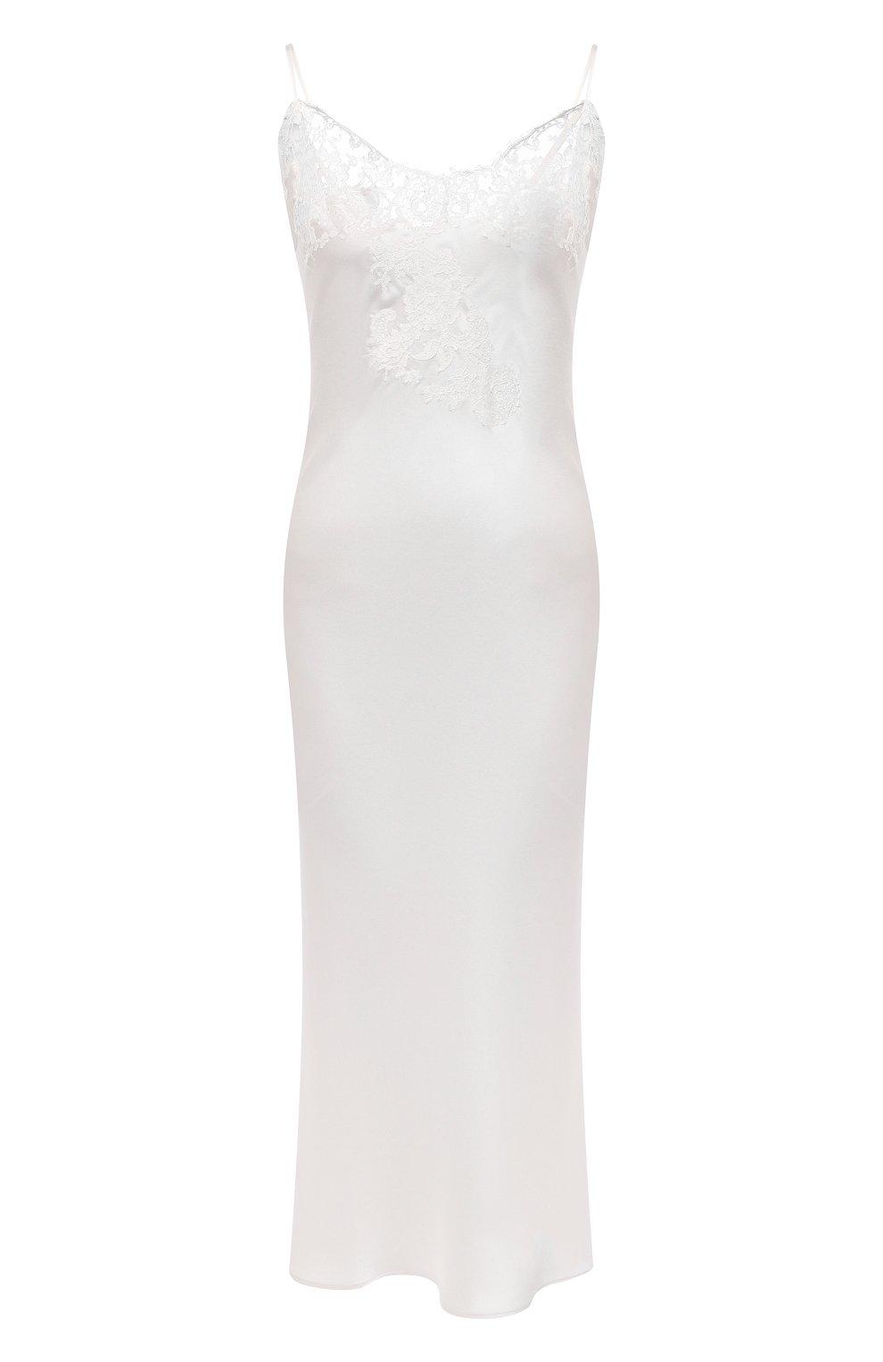 Женская шелковая сорочка MARJOLAINE белого цвета, арт. 3GEM3001   Фото 1 (Материал внешний: Шелк; Длина Ж (юбки, платья, шорты): Макси)