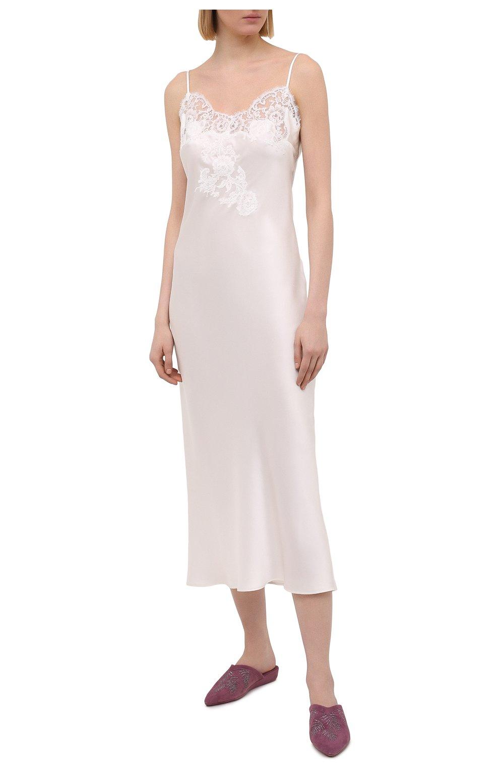 Женская шелковая сорочка MARJOLAINE белого цвета, арт. 3GEM3001   Фото 2 (Материал внешний: Шелк; Длина Ж (юбки, платья, шорты): Макси)