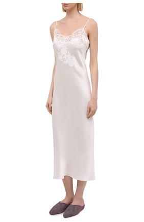 Женская шелковая сорочка MARJOLAINE белого цвета, арт. 3GEM3001   Фото 3 (Материал внешний: Шелк; Длина Ж (юбки, платья, шорты): Макси)