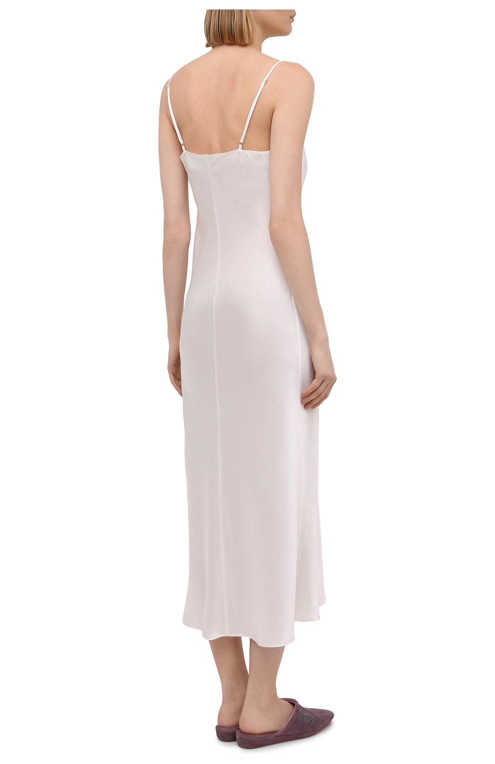 Женская шелковая сорочка MARJOLAINE белого цвета, арт. 3GEM3001   Фото 4 (Материал внешний: Шелк; Длина Ж (юбки, платья, шорты): Макси)