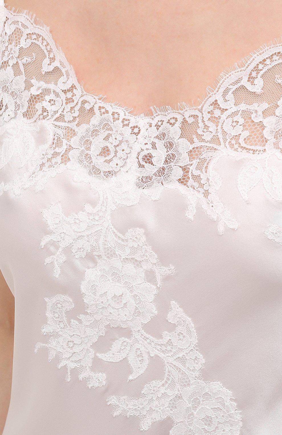 Женская шелковая сорочка MARJOLAINE белого цвета, арт. 3GEM3001   Фото 5 (Материал внешний: Шелк; Длина Ж (юбки, платья, шорты): Макси)