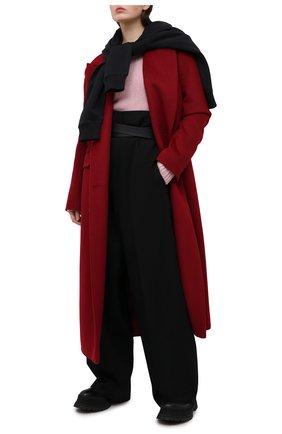 Женское пальто из шерсти и вискозы LESYANEBO бордового цвета, арт. FW20/H-405 | Фото 2