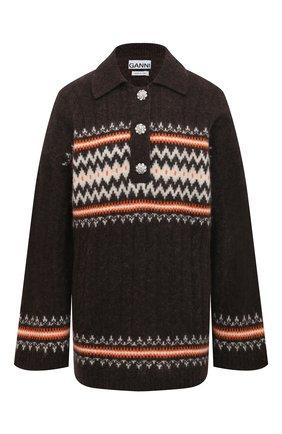 Женский шерстяной свитер GANNI коричневого цвета, арт. K1485 | Фото 1