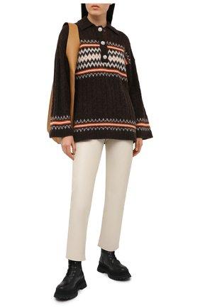 Женский шерстяной свитер GANNI коричневого цвета, арт. K1485 | Фото 2