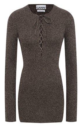 Женский пуловер из вискозы GANNI коричневого цвета, арт. K1465 | Фото 1