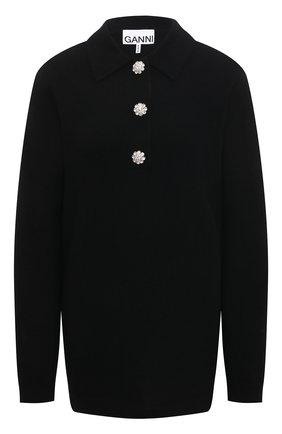 Женский кашемировый свитер GANNI черного цвета, арт. K1446 | Фото 1