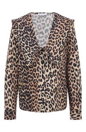 Женская хлопковая блузка GANNI коричневого цвета, арт. F5777 | Фото 1