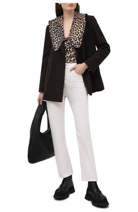 Женская хлопковая блузка GANNI коричневого цвета, арт. F5777 | Фото 2