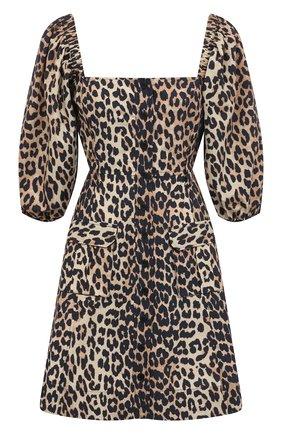 Женское хлопковое платье GANNI коричневого цвета, арт. F5655 | Фото 1