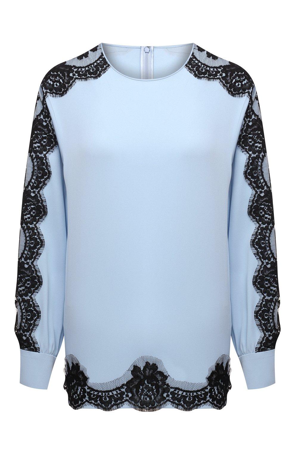 Женская шелковая блузка DOLCE & GABBANA голубого цвета, арт. F74V0T/FUABF | Фото 1