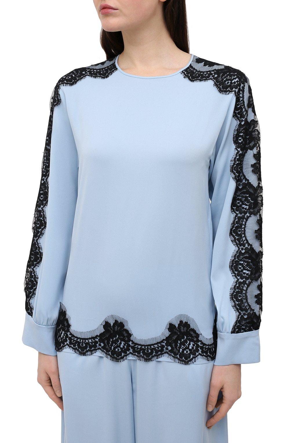 Женская шелковая блузка DOLCE & GABBANA голубого цвета, арт. F74V0T/FUABF | Фото 3