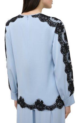 Женская шелковая блузка DOLCE & GABBANA голубого цвета, арт. F74V0T/FUABF | Фото 4