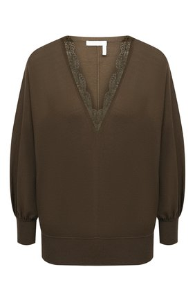 Женский шерстяной пуловер CHLOÉ хаки цвета, арт. CHC21SMP82520 | Фото 1