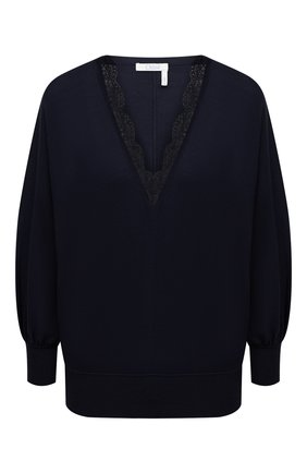 Женский шерстяной пуловер CHLOÉ темно-синего цвета, арт. CHC21SMP82520 | Фото 1