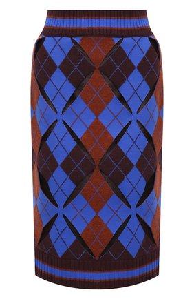 Женская юбка BURBERRY темно-синего цвета, арт. 8037373 | Фото 1