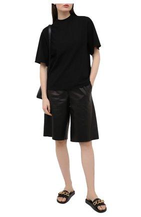 Женские кожаные шлепанцы VERSACE черного цвета, арт. DST578C/DV46G | Фото 2 (Подошва: Платформа)