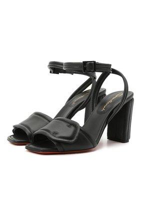 Женские кожаные босоножки SANTONI черного цвета, арт. WHI059247HA2TPFHN01   Фото 1