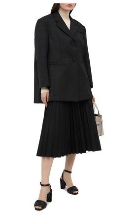 Женские кожаные босоножки SANTONI черного цвета, арт. WHI059247HA2TPFHN01   Фото 2