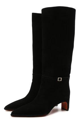 Женские замшевые сапоги SANTONI черного цвета, арт. WSFN59307HA2NMRVN01   Фото 1