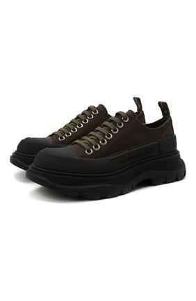 Женские текстильные ботинки tread slick ALEXANDER MCQUEEN хаки цвета, арт. 611705/W4L51 | Фото 1