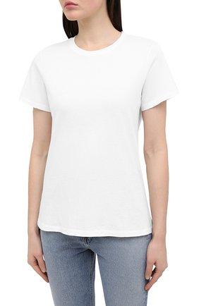 Женская хлопковая футболка AGOLDE белого цвета, арт. A7047 | Фото 3