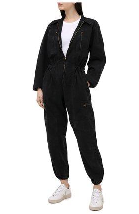 Женский джинсовый комбинезон AGOLDE черного цвета, арт. A8019-1001 | Фото 2