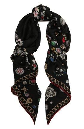 Женская шелковая шаль ALEXANDER MCQUEEN черного цвета, арт. 650048/3011Q   Фото 1