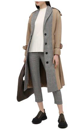 Женские шерстяные брюки ALEXANDER MCQUEEN серого цвета, арт. 649785/QJAB0 | Фото 2