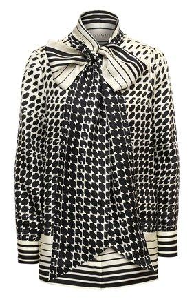 Женская шелковая блузка GUCCI черно-белого цвета, арт. 467085/ZAGI9 | Фото 1