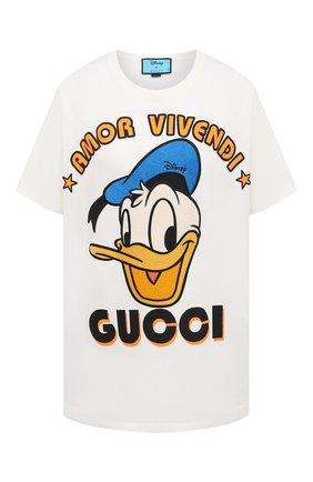 Женская хлопковая футболка disney x gucci GUCCI белого цвета, арт. 615044/XJDBJ | Фото 1