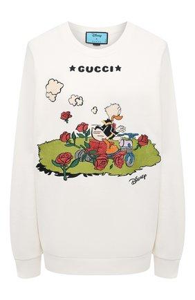 Женский хлопковый свитшот disney x gucci GUCCI белого цвета, арт. 617964/XJDA7 | Фото 1