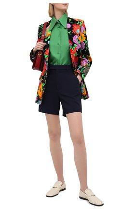 Женские шорты из вискозы GUCCI темно-синего цвета, арт. 619500/ZKR01 | Фото 2 (Стили: Кэжуэл; Материал внешний: Вискоза; Женское Кросс-КТ: Шорты-одежда; Длина Ж (юбки, платья, шорты): Мини)
