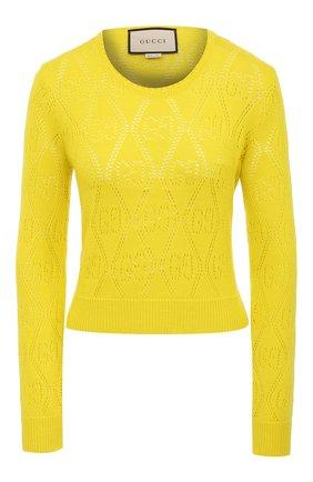 Женский шерстяной пуловер GUCCI желтого цвета, арт. 642115/XKBL7 | Фото 1 (Материал внешний: Шерсть; Рукава: Длинные; Стили: Романтичный; Женское Кросс-КТ: Пуловер-одежда; Длина (для топов): Стандартные)