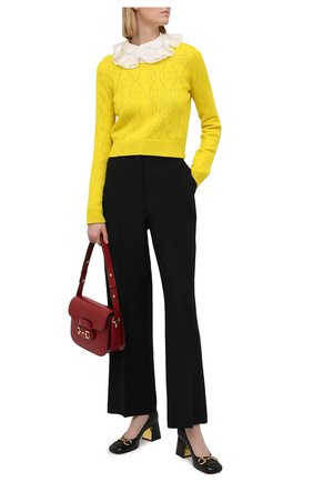 Женский шерстяной пуловер GUCCI желтого цвета, арт. 642115/XKBL7   Фото 2