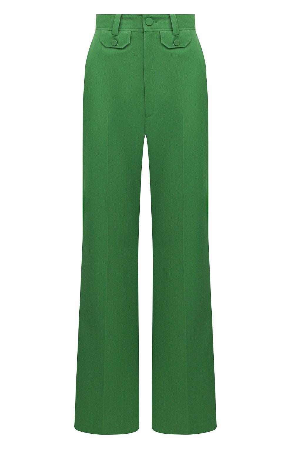 Женские брюки GUCCI зеленого цвета, арт. 643346/ZAFU9   Фото 1 (Материал внешний: Шерсть, Синтетический материал; Длина (брюки, джинсы): Стандартные; Женское Кросс-КТ: Брюки-одежда; Силуэт Ж (брюки и джинсы): Расклешенные; Стили: Романтичный)