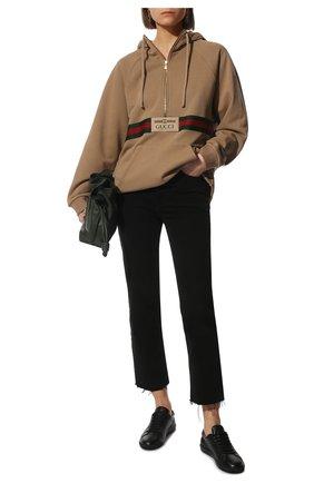 Женский хлопковое худи GUCCI светло-коричневого цвета, арт. 644656/XJC3W | Фото 2 (Материал внешний: Хлопок; Стили: Спорт-шик; Женское Кросс-КТ: Худи-одежда; Рукава: Длинные; Длина (для топов): Стандартные)