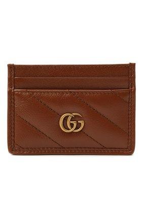 Женский кожаный футляр для кредитных карт GUCCI коричневого цвета, арт. 443127/00LFT | Фото 1