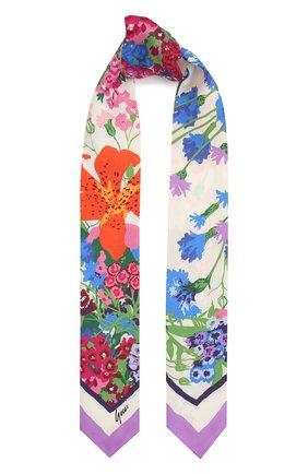 Женский шелковый платок GUCCI фиолетового цвета, арт. 652896/3G001   Фото 1