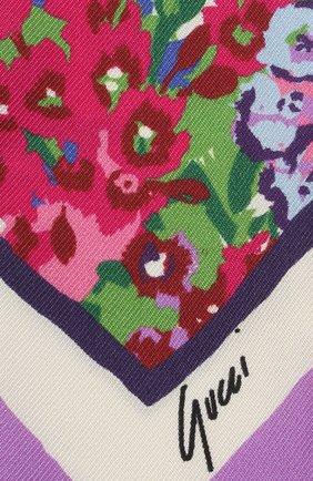 Женский шелковый платок GUCCI фиолетового цвета, арт. 652896/3G001   Фото 2