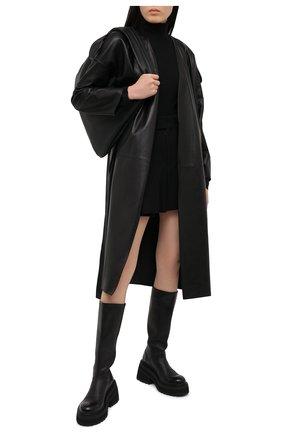 Женское кожаное пальто INES&MARECHAL черного цвета, арт. GLAM0UR CUIR | Фото 2