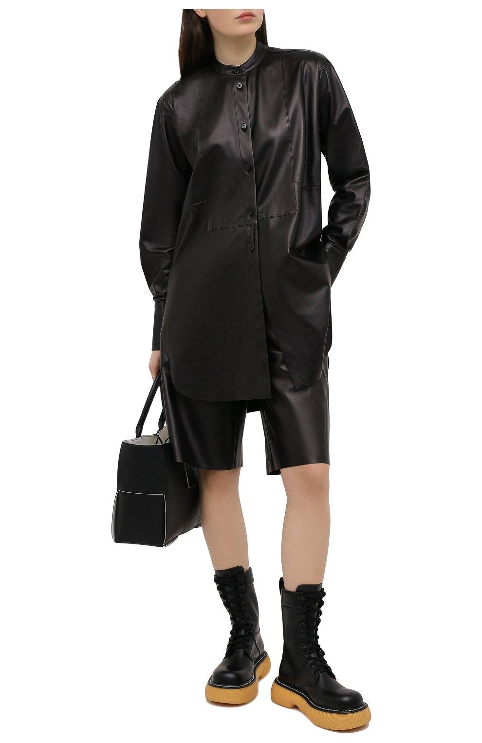 Женские кожаные шорты DROME черного цвета, арт. DPD7034P/D400P   Фото 2