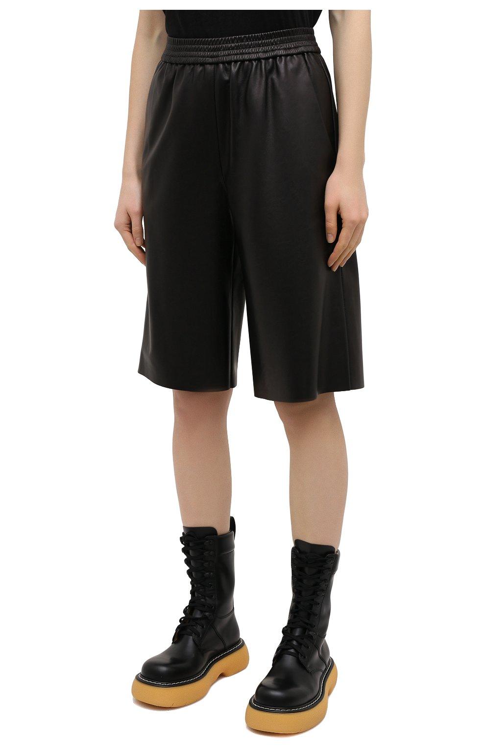 Женские кожаные шорты DROME черного цвета, арт. DPD7034P/D400P   Фото 3